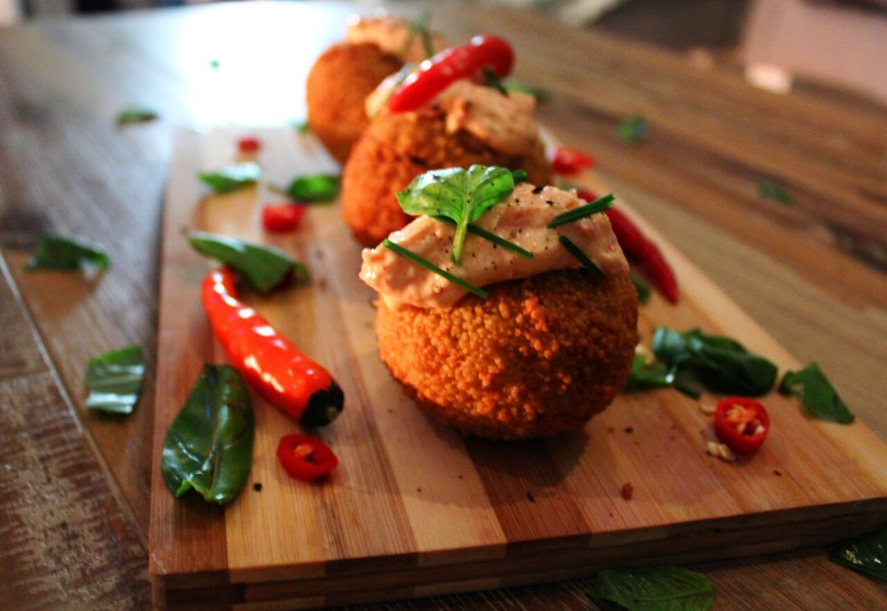 Cheesy Couscous and Curry Balls