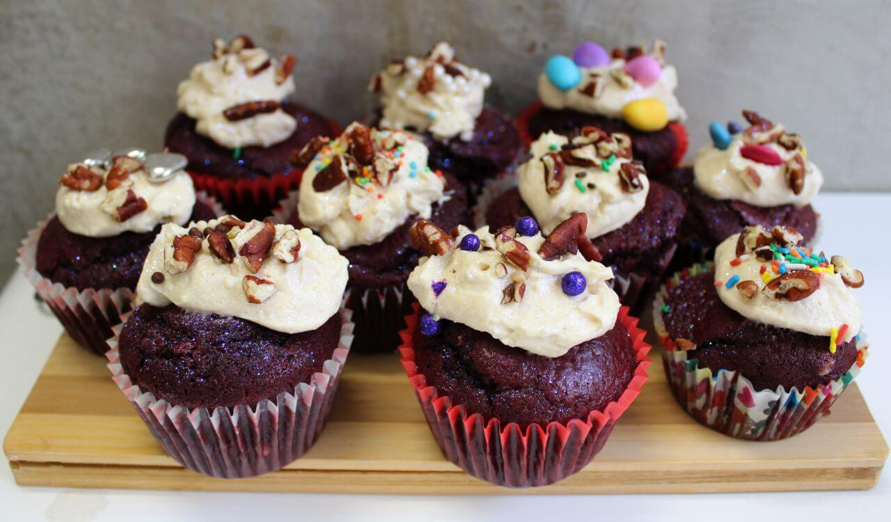 Sparkle Velvet Cupcakes with Cheesecake Frosting